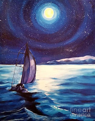 Sailing At Night Painting - Moon-lit Sail by Caitlin Lodato