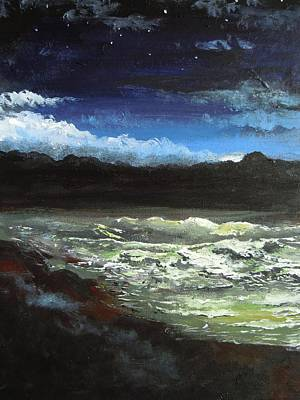 Painting - Moon Lit Sea by Dan Whittemore