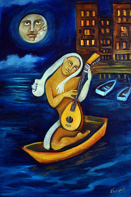 Moon, Lovers, Lute Original by Valerie Vescovi