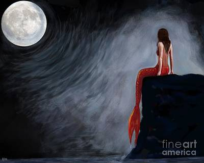 Painting - Moon Magic Mermaid by Leslie Allen