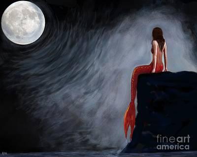 Painting - Moon Magic Mermaid by Leslie Allen
