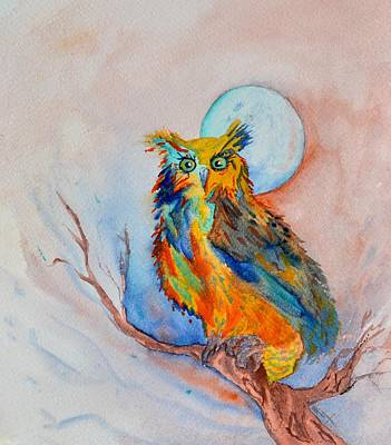 Painting - Moon Magic Owl by Beverley Harper Tinsley