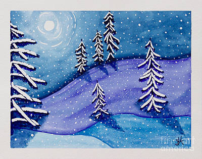 Contemplative Painting - Moon On Snow by Tonya Hudson