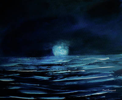 Painting - Moon On The Lake by Dick Bourgault
