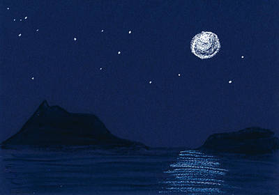 Silver Moonlight Drawing - Moon On The Ocean by Hakon Soreide