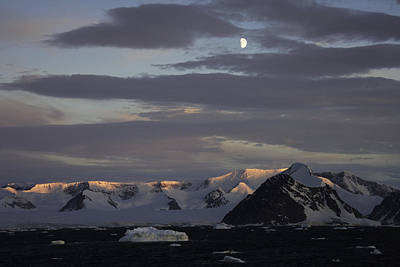 Photograph - Moon Over Alpine Glow Antarctica by Ralph Fahringer