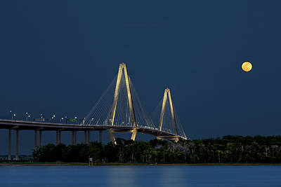 Photograph - Moon Over Arthur Ravenel Jr. Bridge by Ken Barrett