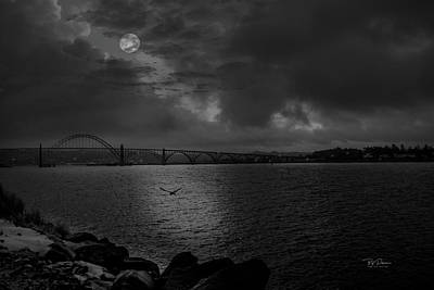 Photograph - Moon Over Bay Night by Bill Posner