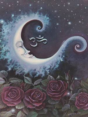 Painting - Moon Over Bed Of Roses by Suzn Art Memorial