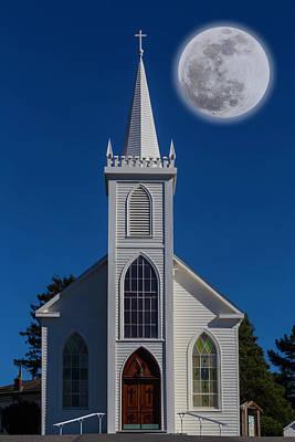 Hitchcock Photograph - Moon Over Bodega Church by Garry Gay