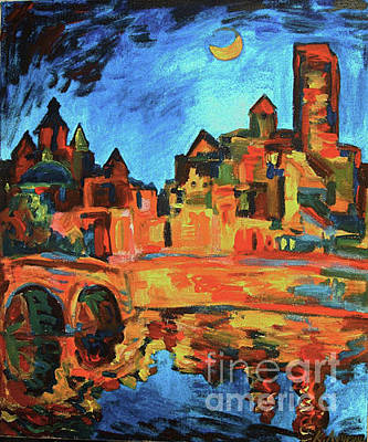 Painting - Moon Over Cahors by Katia Weyher