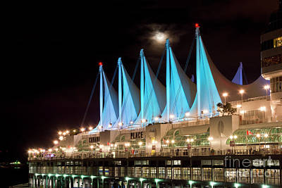 Photograph - Moon Over Canada Place In Vancouver by Maria Janicki