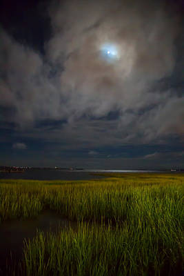 Interior Design Photograph - Charleston - Moon Over Charleston Harbor by J Darrell Hutto