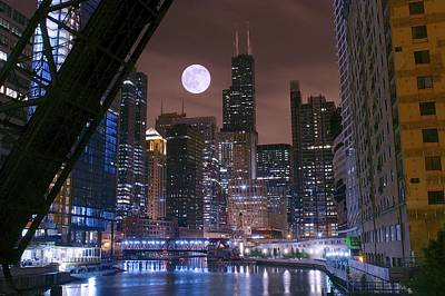 Batman Building Photograph - Moon Over Chicago by Frozen in Time Fine Art Photography