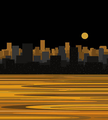 Digital Art - Moon Over City Skyline by Val Arie