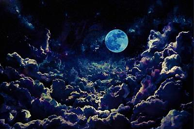 Painting - Moon Over Dark Clouds In Watercolor by Adam Asar