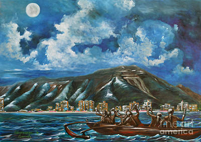 Nightlight Painting - Moon Over Diamond Head by Larry Geyrozaga