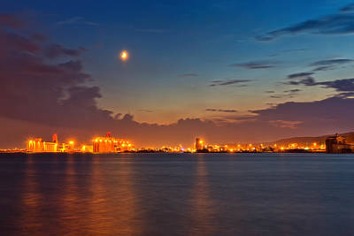 Photograph - Moon Over Duluth Harbor by John M Bailey