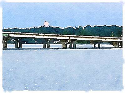 Photograph - Moon Over Elk River Bridge by Gwendolyn Christopher
