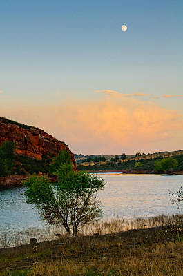 Moon Over Eltuck Bay, Ft. Collins, Colorado Art Print