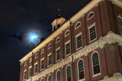 Photograph - Moon Over Faneuil Hall by Joann Vitali