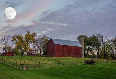 Photograph - Moon Over Farm by Randall Branham