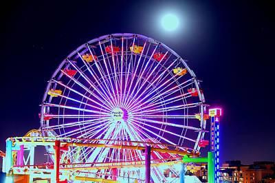 Photograph - Moon Over Ferris Wheel by Jonathan Bayani