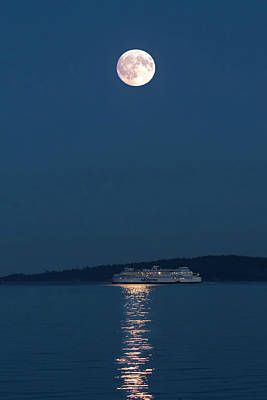 Photograph - Moon Over Ferry - 365- 195 by Inge Riis McDonald