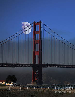 Moon Over Foggy Golden Gate Bridge . Vertical Art Print by Wingsdomain Art and Photography