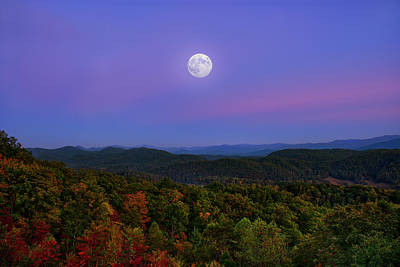 Photograph - Moon Over Foothills Parkway In Tennessee Mountains by Justin Kelefas