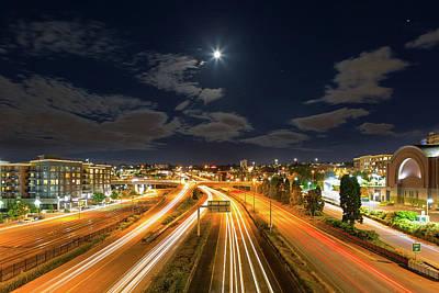 Wall Art - Photograph - Moon Over Freeway In Tacoma Washington by David Gn