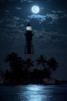 Photograph - Moon Over Hillsboro Lighthouse by Justin Kelefas