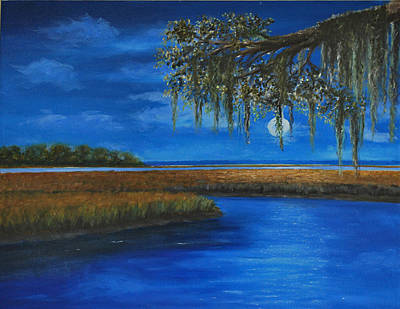 South Carolina Low Country Marsh Painting - Moon Over Hilton Head by Stanton D Allaben