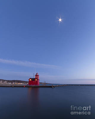 Holland Michigan Photograph - Moon Over Holland Lighthouse And Channel by Twenty Two North Photography