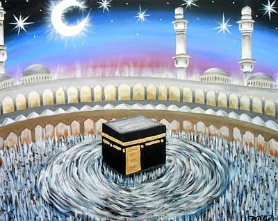 Hajj Painting - Moon Over Kaaba by Felicity LeFevre
