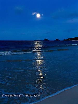 Moon Over Kailua Art Print by Robert Abbett