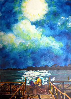 Painting - Moon Over Laguna De Perlas by Sarah Hornsby