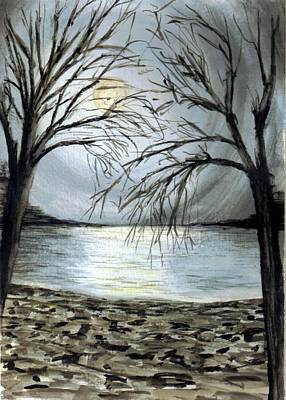 Moon Over Lake Art Print by Terence John Cleary