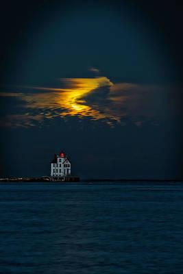 By Jackie Photograph - Moon Over Light House by Jackie Sajewski