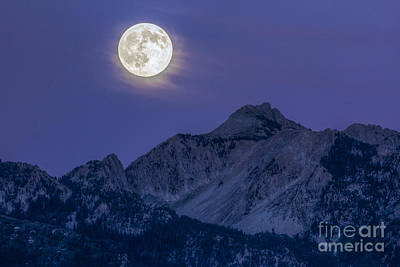 Photograph - Moon Over Lone Peak by Spencer Baugh