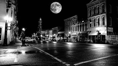 Georgetown Digital Art - Moon Over Main by Bob Welch