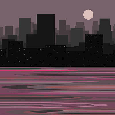 Moon Over Manhattan - A Different View Art Print