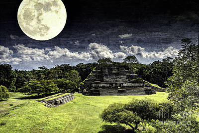 Photograph - Moon Over Mayan Temple One by Ken Frischkorn