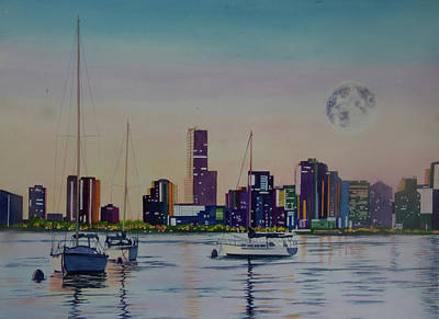 Wall Art - Painting - Moon Over Miami by Terry Arroyo Mulrooney
