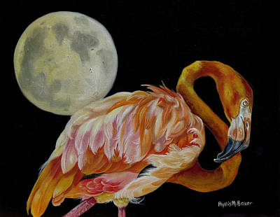Greater Flamingos Painting - Moon Over Mississippi A Flamingos Perspective by Phyllis Beiser