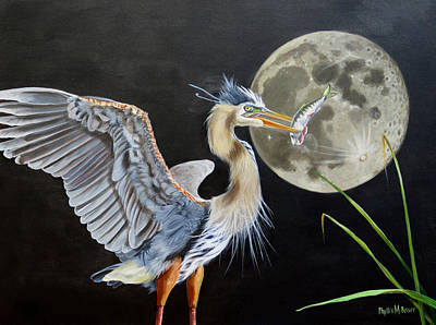 Painting - Moon Over Mississippi A Hunting Blue  Herons Perspective  by Phyllis Beiser