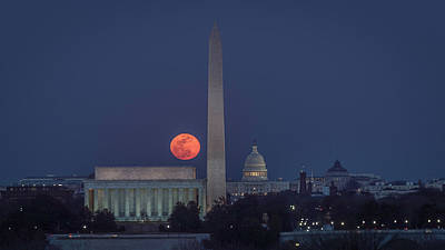 Photograph - Moon Over Monuments by Michael Donahue