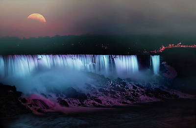 By Jackie Photograph - Moon Over Niagara Falls by Jackie Sajewski