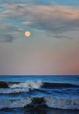 Photograph - Moon Over Ocean by Peg Runyan