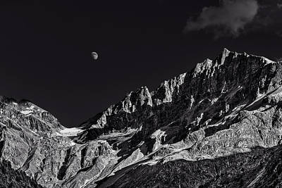 Photograph - Moon Over Paradisino Peak by Roberto Pagani